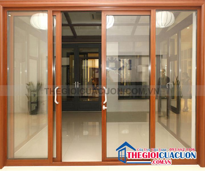 Cửa Nhôm Việt Pháp Vân Gỗ 450 - Cửa Nhôm Việt Pháp Vân Gỗ 4500